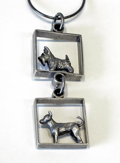 Dog in Squares Pendant - Silver Necklace - by Kristin Lora