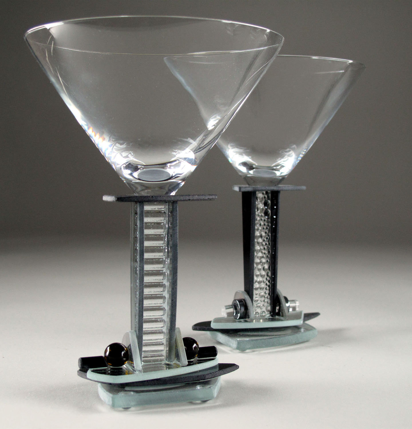 Jazz Martini II - Art Glass Goblets - by George Ponzini