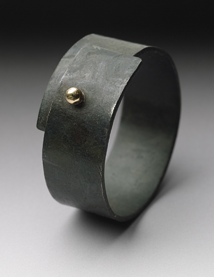 Steel Snap Ring - Gold & Steel Ring - by Peg Fetter