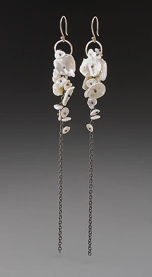 Pearl Cluster Earrings - Gold, Silver, & Pearl Earrings - by Peg Fetter