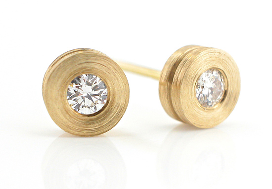 Torno Small Ear Studs - Gold and Stone Earrings - by Catherine Iskiw