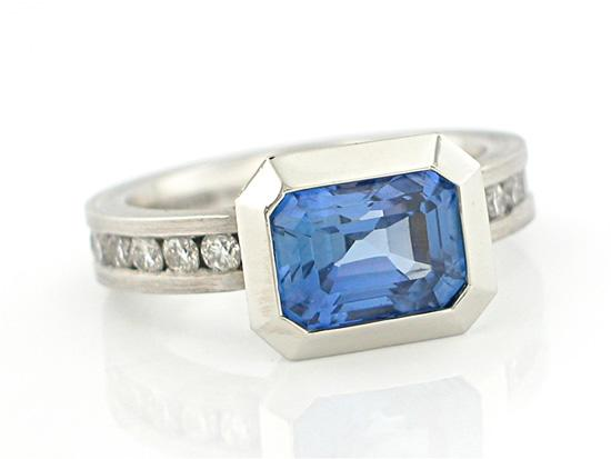 Oblique Ring in 950 Pt. with Blue Sapphire and Diamonds - Platinum & Stone Ring - by Catherine Iskiw