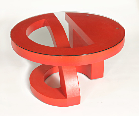 Red Coffee Table - Wood Coffee Table - by John Wilbar