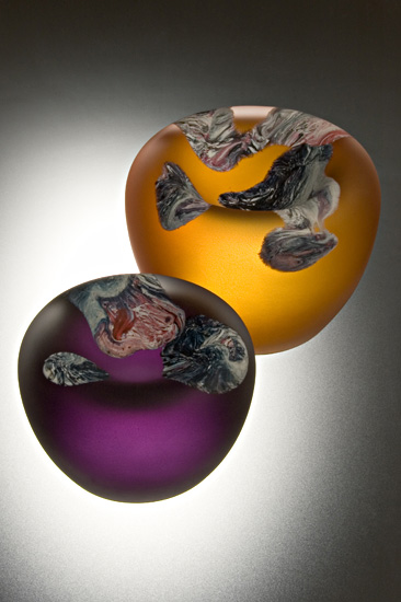 Purple/Amber Bowl Duo - Art Glass Sculptures - by Jon Goldberg
