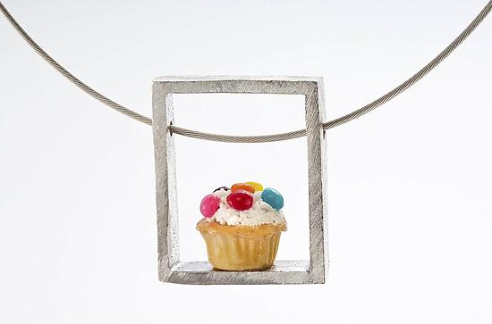 Cupcake Pendant Speckled - Silver & Polymer Clay Necklace - by Carolyn Tillie