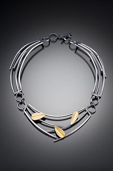 Sticks and Petals Necklace - Silver & Bimetal Necklace - by Lori Gottlieb