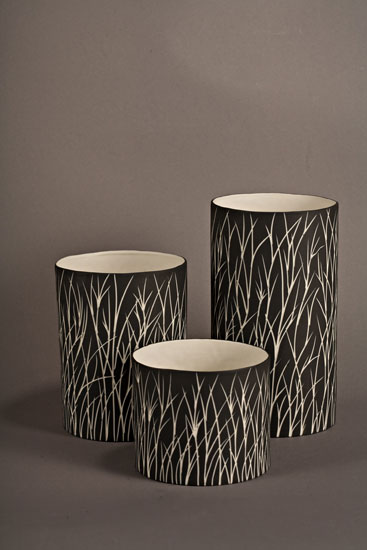 Tall Grass Luminaries in Black - Ceramic Candleholders - by Tabbatha Henry
