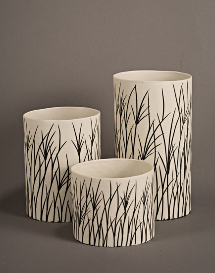 Tall Grass Luminaries in White - Ceramic Candleholders - by Tabbatha Henry