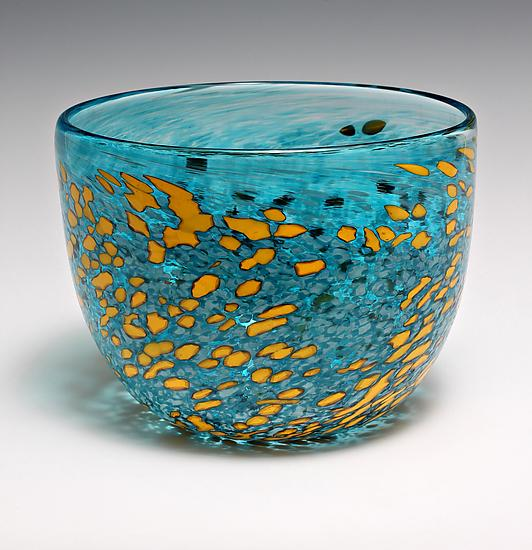 Caribbean Serving Bowl - Art Glass Bowl - by Jess Wainer