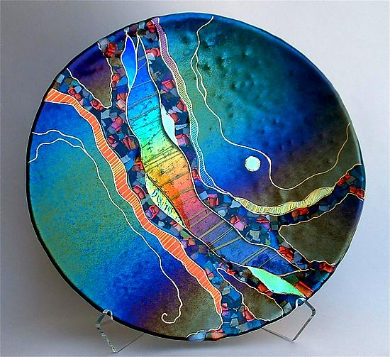 Large Round Abstract Platter in Dark Teal - Art Glass Platter - by Karen Ehart
