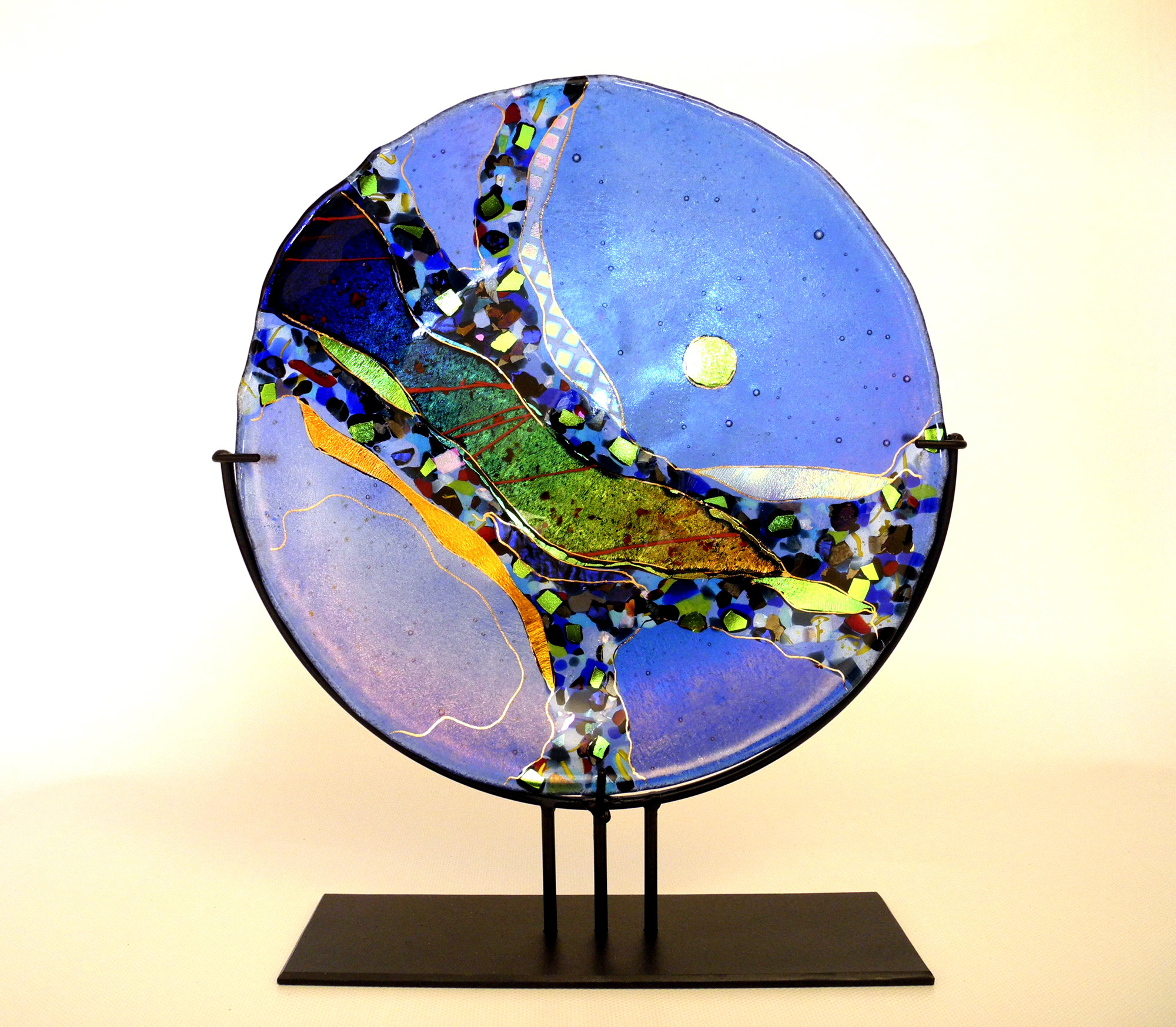 Small Light Blue Abstract Platter - Art Glass Platter - by Karen Ehart