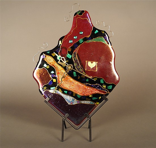 Valentine Clock - Art Glass Clock - by Karen Ehart