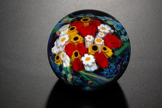 Landscape Series Rose Sunflower Paperweight - Art Glass Paperweight - by Shawn Messenger