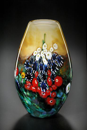 Tall Landscape Series vase in Yellow - Art Glass Vase - by Shawn Messenger