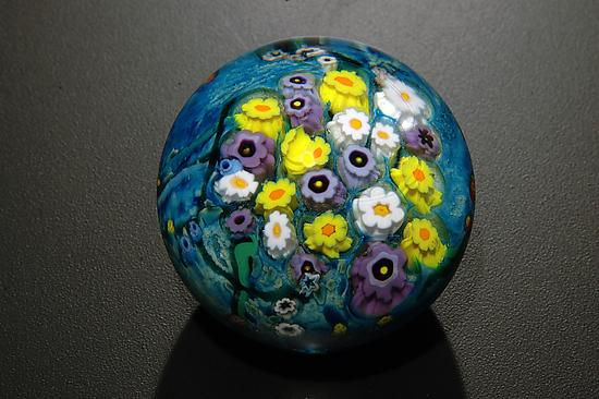 Landscape Seres Paperweight Daisy, Hippie Daisy, Violet - Art Glass Paperweight - by Shawn Messenger