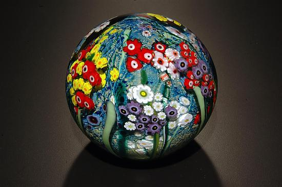 Landscape Series Gazing Ball With Poppies By Shawn