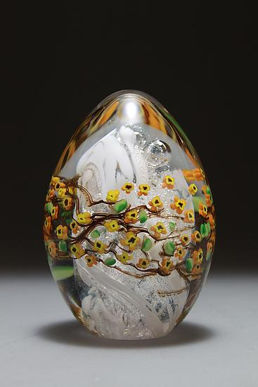 Forsythia Egg Paperweight - Art Glass Paperweight - by Shawn Messenger