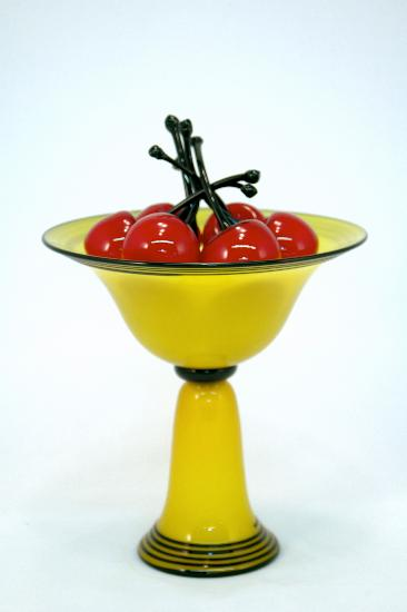 Yellow Pedestal Bowl with Red Cherries - Art Glass Sculpture - by Donald Carlson