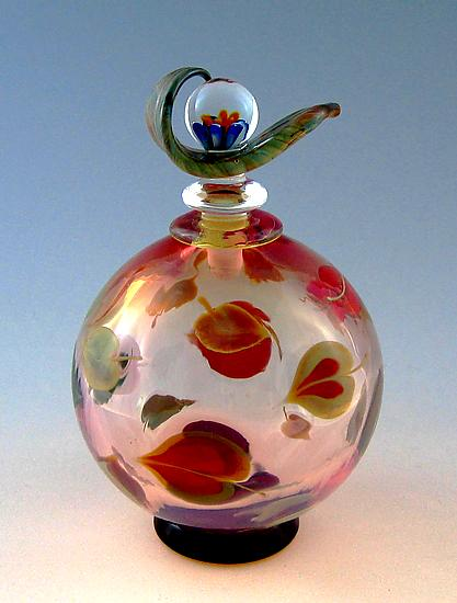 Dogwood Perfume Bottle - Art Glass Perfume Bottle - by Chris Pantos