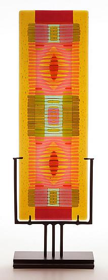 Amber/Salmon Line Work vertical - Art Glass Sculpture - by Lynn Latimer