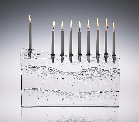 Block Menorah - Art Glass Menorah - by Joel and Candace Bless