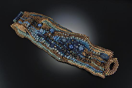 Striations Cuff- River Blue - Beaded Bracelet - by Julie Powell