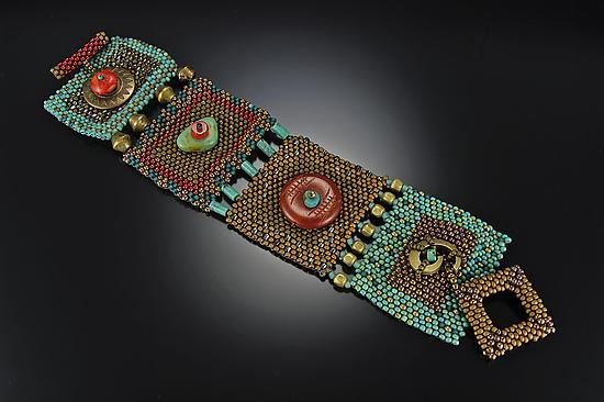 Turquoise, Brass & Carnelian Cuff - Beaded Bracelet - by Julie Powell