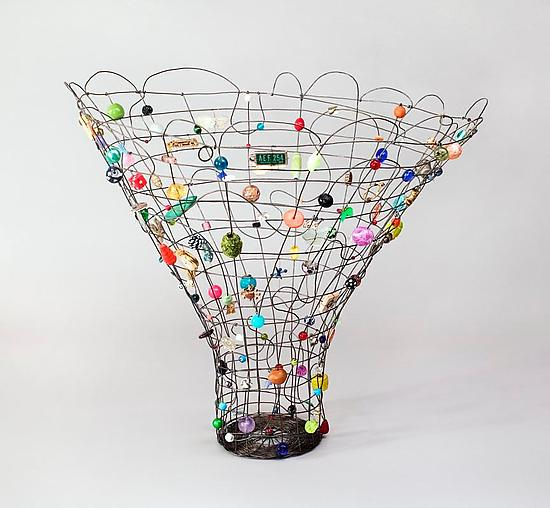 Rhythm Basket - Metal Beaded Basket - by Sally Prangley