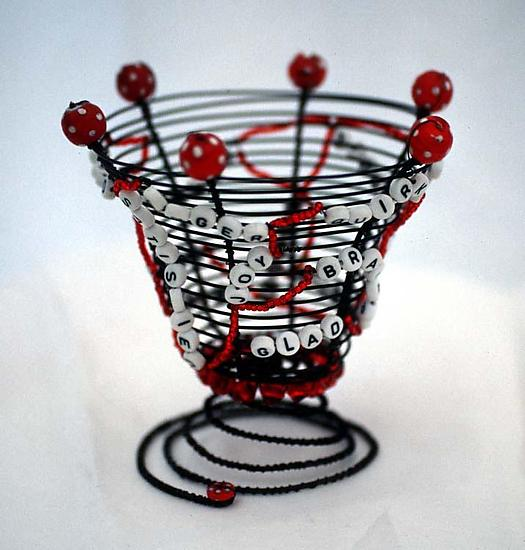 Bundle of Nerves Basket - Metal & Beaded Basket - by Sally Prangley