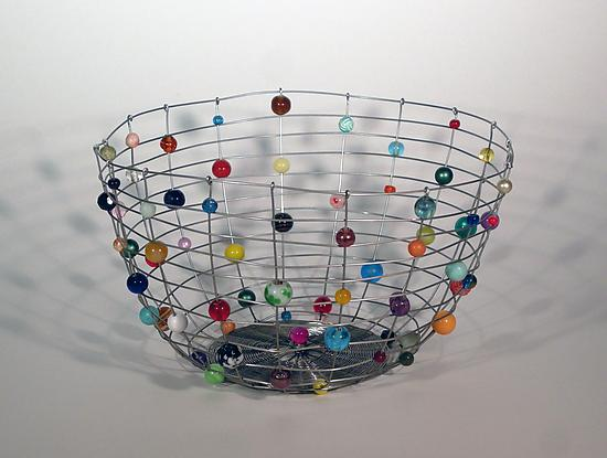 Stainless Steel Candy Basket - Metal & Beaded Basket - by Sally Prangley