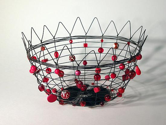 Annealed Steel Candy basket with Crown Rim in Red - Metal & Beaded Basket - by Sally Prangley