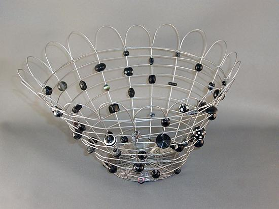 Candy Basket, Black Beads, Petal Rim - Metal & Beaded Basket - by Sally Prangley