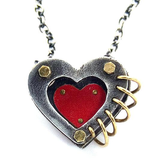 Love in 3-D Heart Pendant - Silver & Tin Necklace - by Beth Taylor