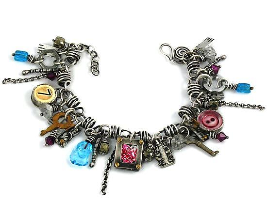 Found Object & Sterling Silver Convertible Charm Bracelet and Necklace - Mixed-Media Bracelet - by Beth Taylor
