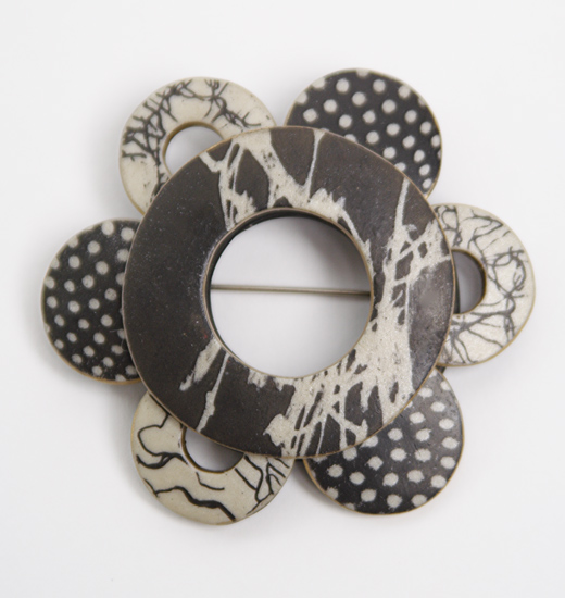Wholioli Brooch - Polymer Pin - by Louise Fischer Cozzi