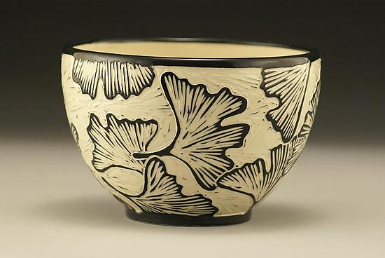 Ginkgo Bowl - Ceramic Bowl - by Jennifer Falter