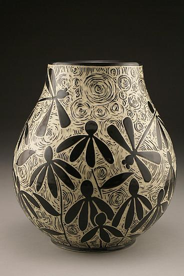 Dragonflies and Coneflowers - Ceramic Vase - by Jennifer Falter