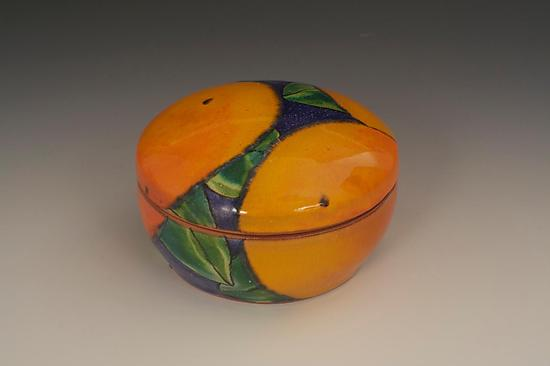 Round Dark Blue Box with Oranges - Ceramic Box - by Farraday Newsome