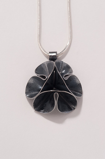 Folded Leaf Oxidized Flower Necklace - Silver Necklace - by Sadie Wang