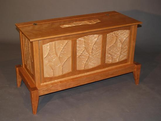 Carved Trunk on Stand - Wood Chest - by John Wesley Williams