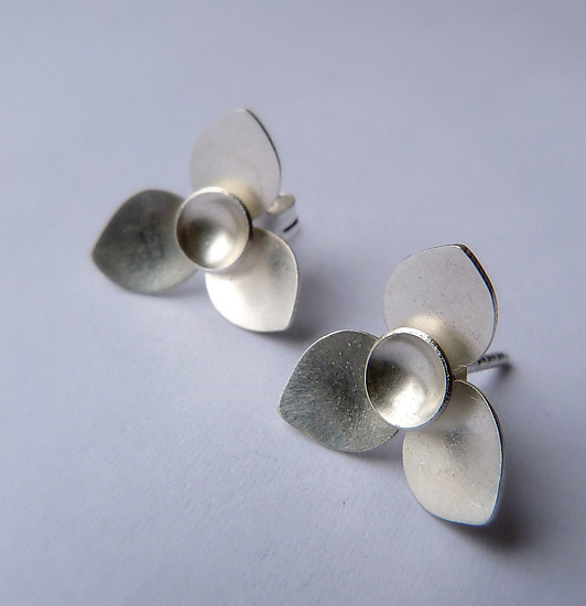 Three Point Petal Studs - Silver Earrings - by Moira Lime