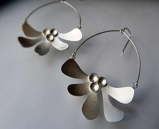 Botanical Dangles No. 5 - Silver Earrings - by Moira Lime