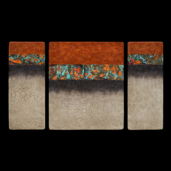 Canyon Walls Triptych M Plus OBC - Fiber Wall Art - by Kara Young