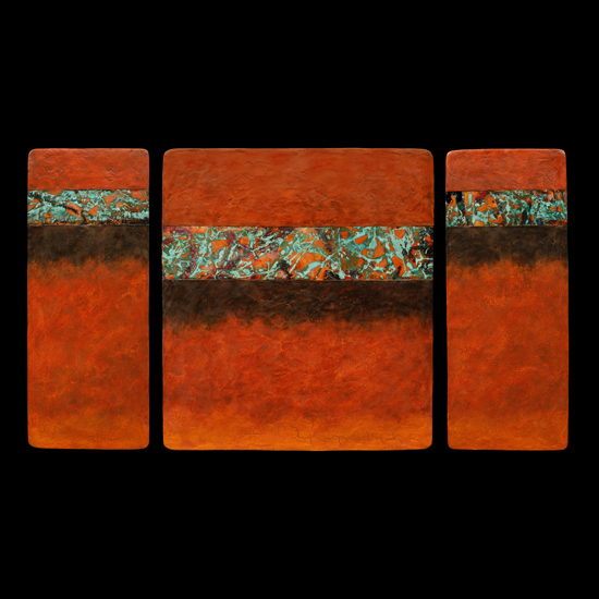 Canyon Walls Triptych M Plus OBO - Fiber Wall Art - by Kara Young