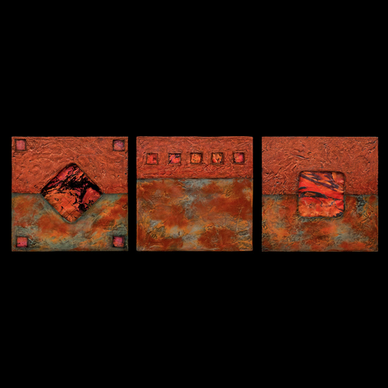 Earth and Fire Sage/ Petite SquareTriptych - Fiber Wall Art - by Kara Young