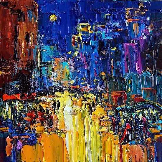 Big City Life - Oil Painting - by Maya Green