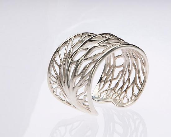 Silver Vein Bangle - Silver Bracelet - by Dror Heymann