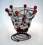 Metal & Beaded Basket by Sally Prangley