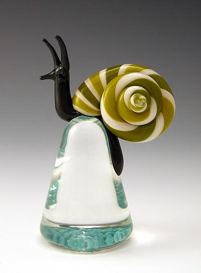 Green Cosmo Snail - Art Glass Paperweight - by Eric Bailey