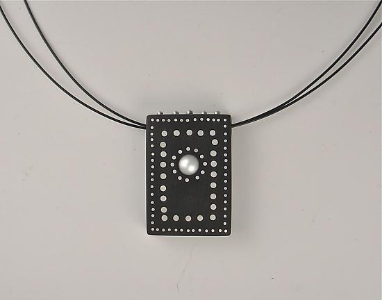 Domino Necklace - Silver, Pearl, & Wood Necklace - by Suzanne Linquist